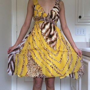 Animal Print Yellow V-Neck Dress